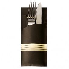 "520 Bags for cutlery 20 cm x 8.5 cm black/cream ""Stripes"" inclusive coloured napkin 33 x 33 cm, 2 ply"