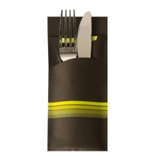 """520 Bags for cutlery 20 cm x 8.5 cm black/lime green """"Stripes"""" inclusive coloured napkin 33 x 33 cm, 2 ply"""