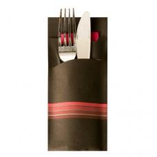"520 Bags for cutlery 20 cm x 8.5 cm black/burgundy ""Stripes"" inclusive coloured napkin 33 x 33 cm, 2 ply"
