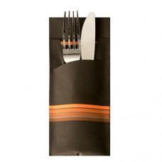 "520 Bags for cutlery 20 cm x 8.5 cm black/orange ""Stripes"" inclusive coloured napkin 33 x 33 cm, 2 ply"